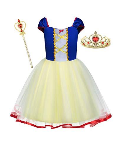 LENSEN Tech Princess Rapunzel Cinderella Belle Costume Baby Girls Dress with Crown Mace (Yellow/Blue, 3-4 Years)