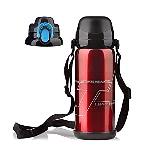 FinerMe 5 Colors 304 Stainless Steel Sports Water Bottle - Large Capacity Stainless Steel Double Layer Vacuum Thermal Insulation Cup For Sports, Hiking, Camping , Travelling 1 Pack (Red)