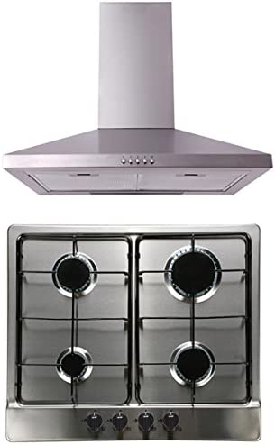 Sia 60 cm 4 quemadores de gas Cocina de cartucho de acero inoxidable 60 cm chimenea campana extractor: Amazon.es: Grandes electrodomésticos