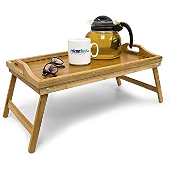 Intriom Bamboo Folding Bamboo Bed Tray: Serve breakfast in bed or use as a laptop computer tray, snack tray or serving platter