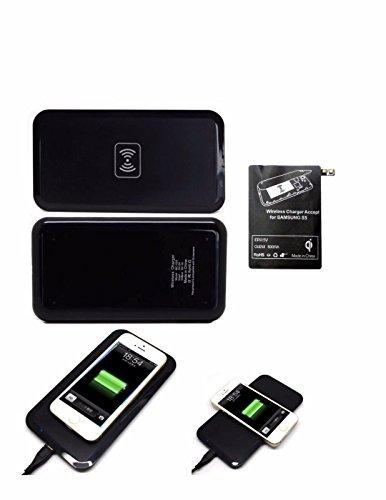 Conjunto de Cargador Estndar Inalmbrico Rectangular + Recibidor para Samsung Galaxy S5, Cargador Inalmbrico para Celular + Recibidor para Samsung Galaxy S5 (Negro)