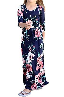 EastLife Girls Floral Print Flared Pocket Maxi Dress Kids 3/4 Sleeve Cute Dresses