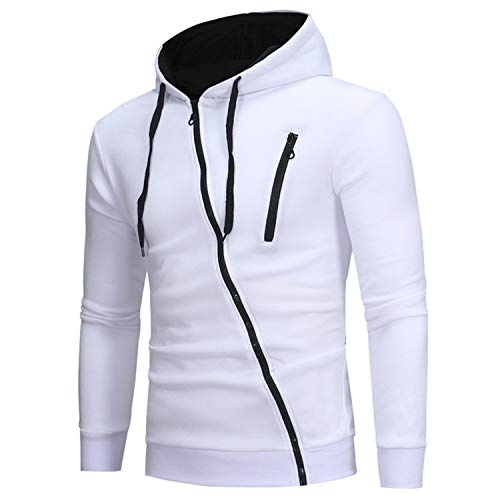 Kaured Fashion Men Hoodie Classic Diagonal Zipper Hooded Men's Casual SweaterSolid Colors 3XL White M