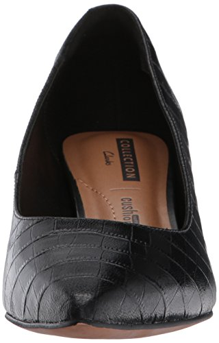 CLARKS Womens Crewso Wick Dress Pump, Black Crocodile, 7.5 M US