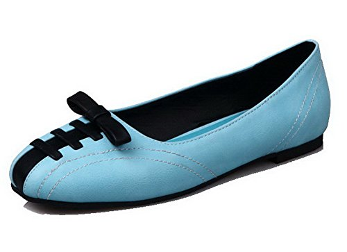 Allhqfashion Womens Assortiment Kleur Pu Lage Hak Ronde Neus Pumps-schoenen Acidblue