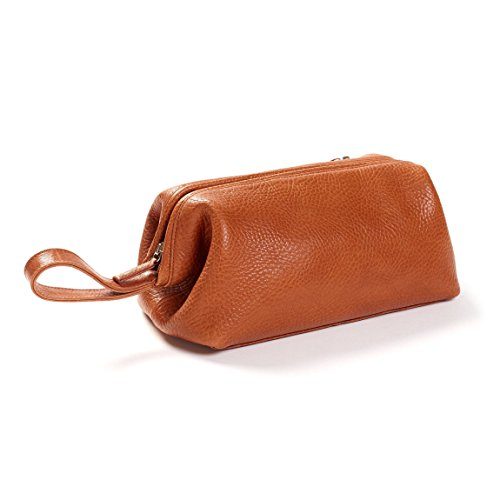 Leatherology Framed Toiletry Bag - Italian Leather - Whiskey (brown) by Leatherology