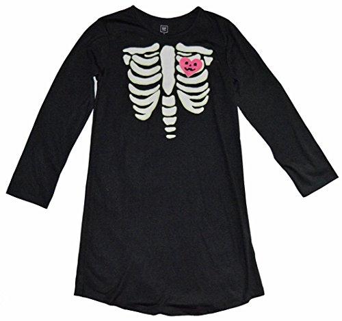 GAP Kids Girls Black Glow-In-The-Dark Skeleton Nightgown -