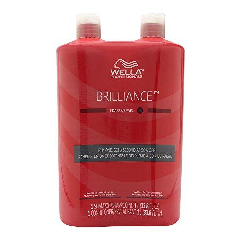 (WELLA Brilliance Shampoo & Conditioner Coarse Colored Hair,Liter Duo 33.8 oz)