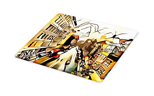Lunarable Urban Cutting Board, Abstract Design Illustration with City Buildings Sketch Avenue Boulevard, Decorative Tempered Glass Cutting and Serving Board, Small Size, Multicolor