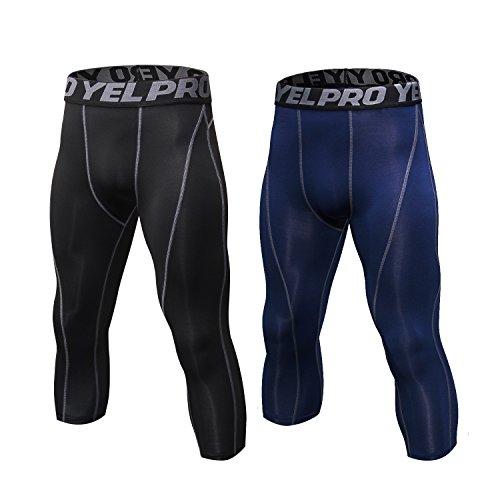 SILKWORLD Men's 2 pack 3/4 Capri Compression Pants Cool Dry Sports Tight Legging, navy Blue, Black (Gray Stripe), US L