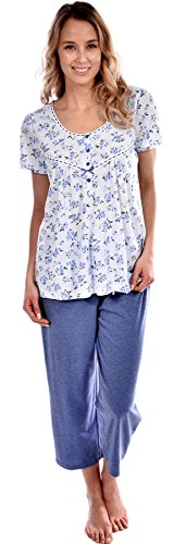 Pink Lady Women's Cotton Knit Floral Top and Capri 2 Piece Pajama Set Blue Small