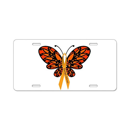 CafePress - MS Awareness Butterfly Ribbon Aluminum License Pla - Aluminum License Plate, Front License Plate, Vanity Tag