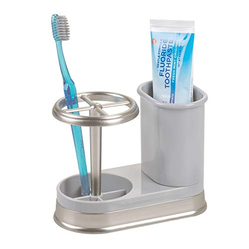 mDesign Decorative Bathroom Dental Storage Organizer Holder Stand for Electric Spin Toothbrushes and Toothpaste, Compact Design Holds 4 Standard Toothbrushes, for Countertops and Vanity - Gray/Brushed