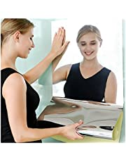 2Pcs Flexible Mirrors for Wall, Self Adhesive Mirror Tiles, Non Glass Soft Mirror Paper for Home Decor