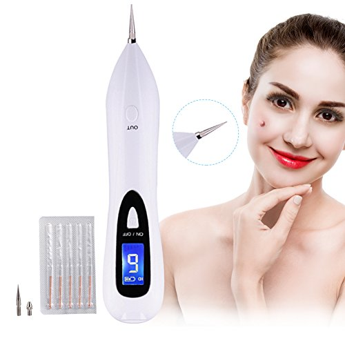 Dot Mole Removal Pen, Freckles, Senile Plaques, Tattoo Pigmentation Skin Tag Nevus Removing LCD Display Beauty Device No Bleeding, USB Charging