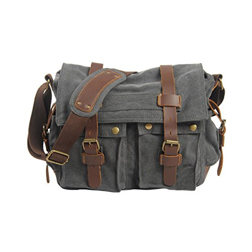 VRIKOO Vintage Military Canvas Crossbody Sports Casual Shoulder Bags Satchel School Messenger Bag (Carbon Black) Gris Oscuro