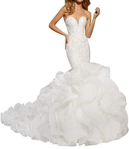 Wedding Dress Sweetheart Lace Mermaid Bridal Dresses with Organza Ruffles