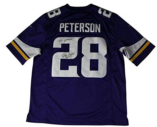 (Signed Adrian Peterson Jersey - Coa Inscribed Pc1042 - JSA Certified - Autographed NFL Jerseys)