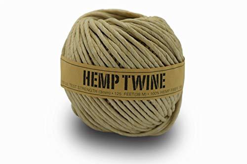 100% Hemp Twine Ball 3MM, 300G/125 Ft. - 170 lb Test Strength - Natural