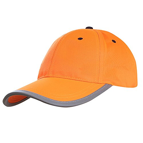 AYKRM Headwear Hi-Vis Cap - Reflective Visibility Safety Baseball Hat Baseball Cap Yellow Reflective (Orange, 61CM)