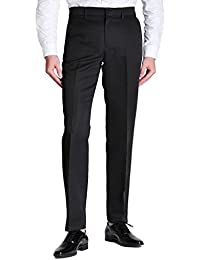 Men's Solid Plain-Front Dress Pants Straight Casual Pants