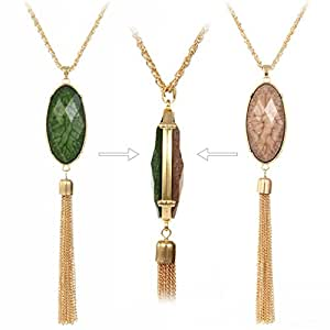 HUIMEI Double Color Oval Shape Stones Reversible Pendant Tassel Necklace