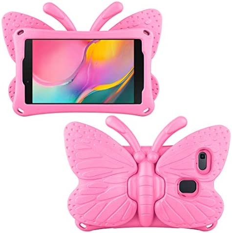 Feitenn Fire HD 8 Case for Kids, 3-D Cartoon Butterfly Cover Non-toxic EVA Kickstand Kid-proof Shockproof Bumper Gift for Fire HD 8 Tablet (seventh and eighth Generation), Not Fit for tenth 2020 Release - Pink