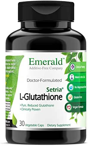 Setria® L-Glutathione - Healthy Liver/Cell Detoxification, Immune System Support, Antioxidant Rich, Skin Health & Anti-Aging - Emerald Laboratories (Ultra Botanicals) - 30 Capsules