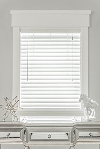 MySmartBlinds Automated Blinds + Solar Panel - Custom 2 1/2'' faux-wood horizontal blinds - Smart blinds with simple SmartLock installation (21'' - 24'' width, White) by MySmartBlinds