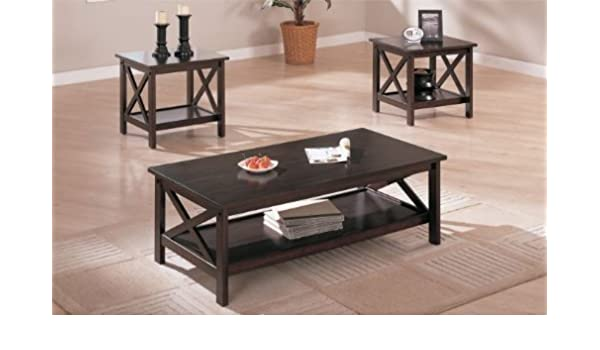 Poundex Coffee Table.Amazon Com Poundex Pdex F3069 3 Piece Coffee Table Set Cappuccino