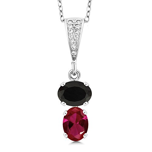 (Gem Stone King 2.47 Ct Oval Black Onyx Red Created Ruby 925 Sterling Silver Pendant)