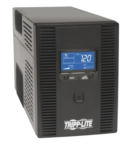 Optional Battery Backup Unit - Tripp Lite 1500VA UPS Battery Back Up AVR LCD Display 10 Outlets 120V 810W Tel & Coax Protection USB (OMNI1500LCDT)