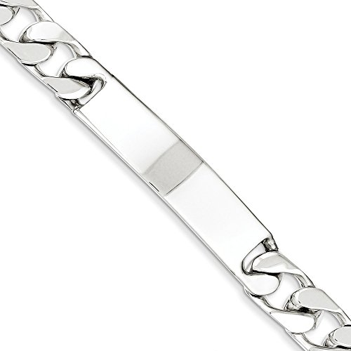 Solid 925 Sterling Silver Polished Engraveable Cuban Curb Link ID Bracelet 7.5'' - with Secure Lobster Lock Clasp (11mm) by Sonia Jewels