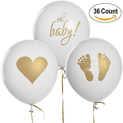 Newborn Baby Birth Announcement - 36 Baby Shower Balloons Decorations Footprint Heart & Oh Baby Design 12