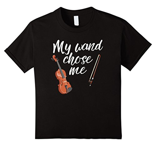 Price comparison product image Kids My Wand Chose Me Violin Music T-Shirt 12 Black