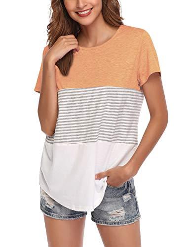 (AUPYEO Women's Short Sleeve T Shirt Round Neck Color Block Stripe Top Casual Blouse Light Orange )