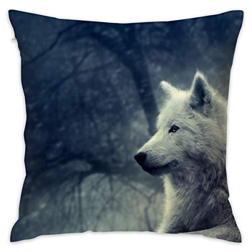 HUERY White Wolf Painting Wallpaper Customized Pillowcase Lovely Square Pillowcase Portable Sofa Pillowcase 18