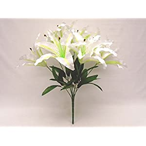"Phoenix Silk Tiger Lily Bush Satin 9 Artificial Flowers 18"" Bouquet 1007 74"