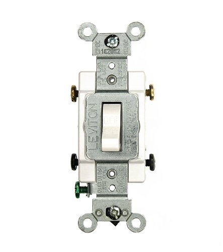 Leviton CS215-2W 064-Cs215-02W Grounded Toggle Switch, 120/277 Vac, 15 A, 2 P, White