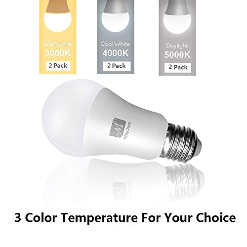 MayJazz A21 LED Bulbs 3 Way Nature White 4000k Lamp,6/14/20W (50/100/150W Equivalent) 500/1600/2100Lumen,E26 Base LED Light Bulbs 2 Packs