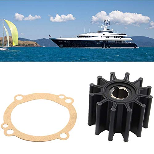 Ignar Boat Engine Water Pump Impeller Repair Kit Set for Sherwood S11095G S11095-G S-11095G 10615K Black 12 Blades Rubber+Metal Shaft ()