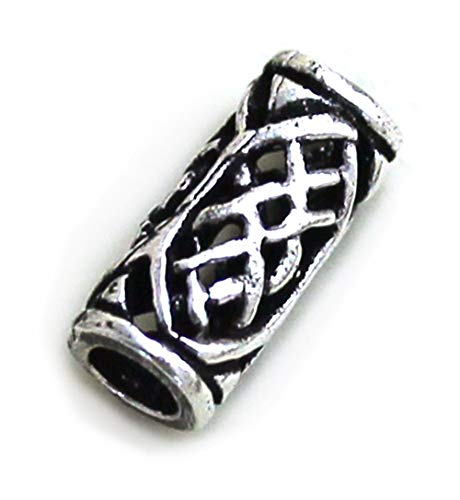 LynnAround 925 Sterling Silver Norse Viking Celtic Beard Beads Rings, Dreadlock Pirate Hair Beads, Pagan Jewelry -