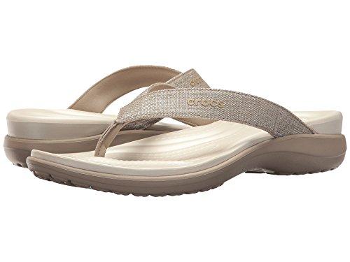 Crocs Women's Capri Shimmer Xband Sandal, Oyster/Cobblestone, 10 M US by Crocs (Image #1)