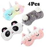 4 Pack Unicorn Sleeping Mask for Girls Soft Plush Blindfold Cute Unicorn Horn Panda Koala Sleep Masks Eye Cover Eyeshade for Kids Teens Women Plane Travel Nap Night Sleeping