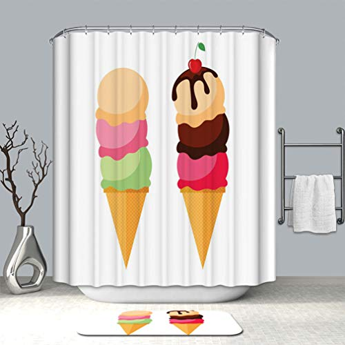 (Creative Shower curtain And bath mat rug Triple ice cream Collection of summer dessert vector illustrations Set of ice cream wafer cones Waterproof Shower Curtain with Non-Slip Floor Doormat Bath Rugs)