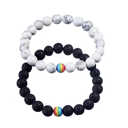 (ASHMITA 8mm Lava Stone Bracelet Men Women Rainbow Bead Distance Bracelets for Couples)