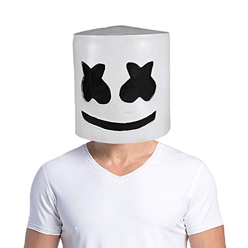 NECHARI Music DJ Mask Party Props Full Head Mask Halloween Cosplay Replica Latex -