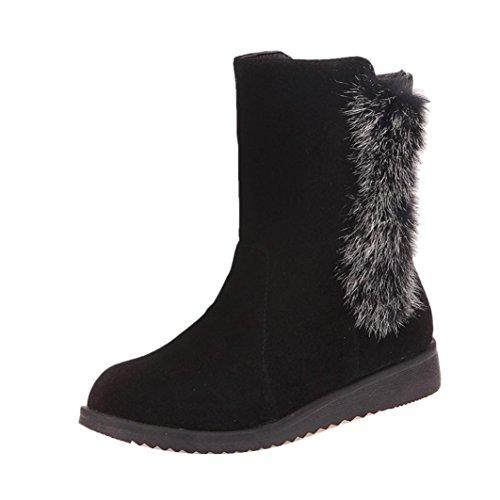 Black Faux Ladies Snow Boots Martin Boots Women Winter Flat Fur Shoes Transer® Ankle 7qxd57