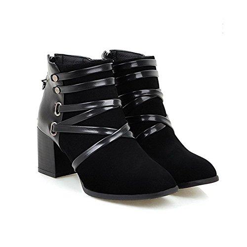 VogueZone009 Damen Gemischte Farbe Quadratisch Zehe Stiefel mit Metall Nägel Schwarz