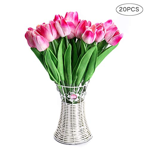 CCINEE 20pcs Real Touch Tulips Artificial Flowers for Wedding Home Centerpiece Decoration(Double Pink)